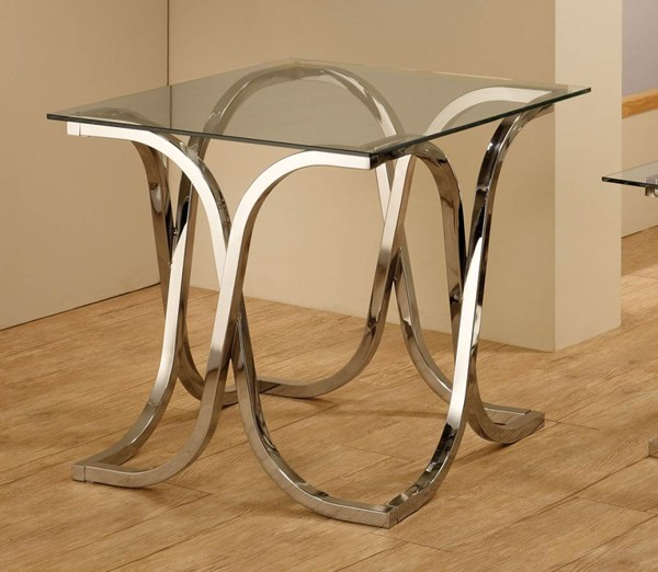 Contemporary Chrome Metal Glass End Table CST-701917