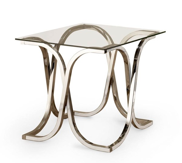 Coaster Furniture Nickel Glass Top End Table CST-701917