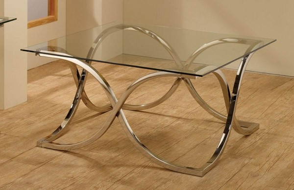 Contemporary Chrome Metal Glass Coffee Table CST-701918