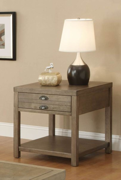 Casual Light Oak Wood End Table W/Storage CST-701957