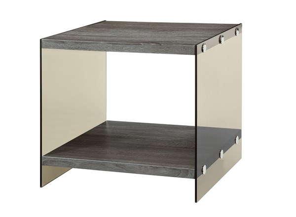 Contemporary Grey Glass Wood End Table w/Shelf CST-701967