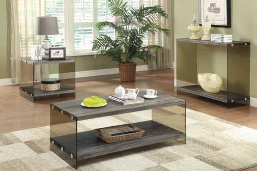 Contemporary Grey Glass Wood Coffee Table Set CST-701967-68-69-OCT