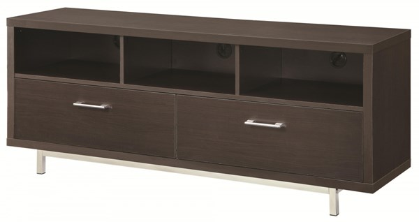 Contemporary Cappuccino Wood TV Console W/2 Drawers & 3 Shelves CST-701973
