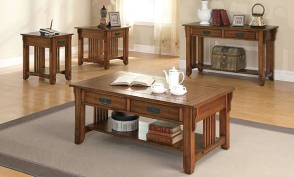 Traditional Oak Wood Shelves Coffee Table Set CST-702006-Set