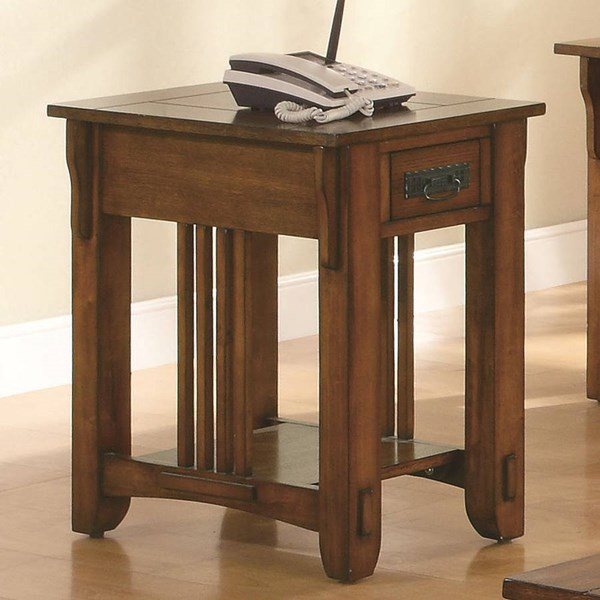 Traditional Oak Wood Side Table ( L 16 X W 23.75 X H 25 ) CST-702006
