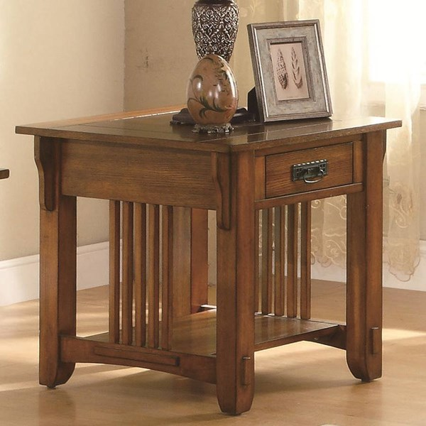 Traditional Oak Wood End Table W/Storage Drawer & Shelf CST-702007
