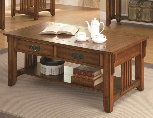 Traditional Brown Oak Wood Coffee Table W/Storage Drawer & Shelf CST-702008