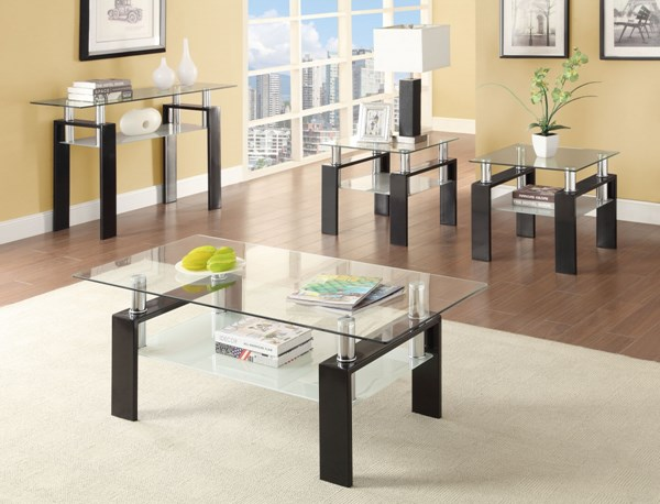 Contemporary Black Metal Glass 4pc Coffee Table Set CST-702287OS4