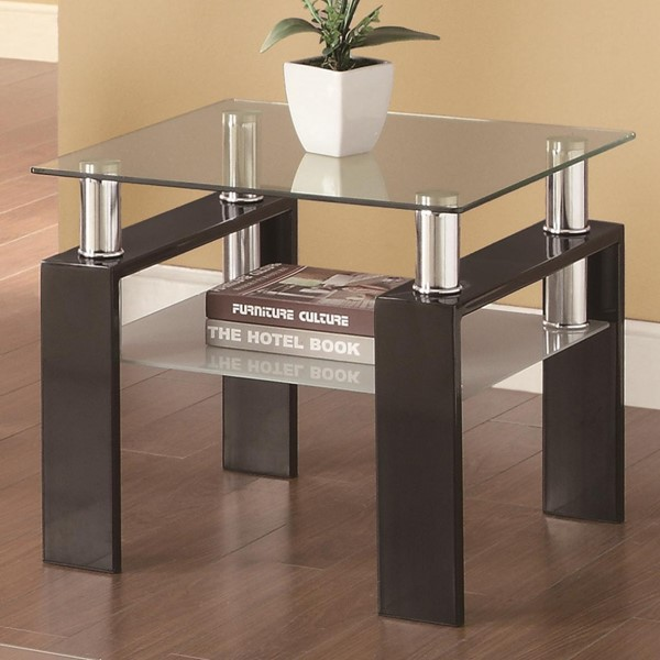 Contemporary Black Metal Glass End Table CST-702287