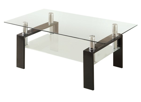 Coaster Furniture Black Glass Top Coffee Table CST-702288