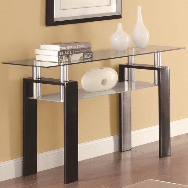 Contemporary Black Metal Glass Sofa Table CST-702289