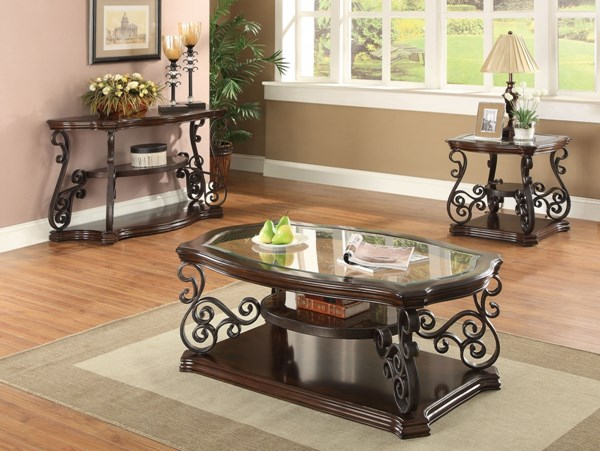 Traditional Brown Wood And Glass Coffee Table Set CST-702447OS