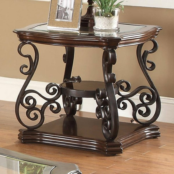 Traditional Brown Wood And Glass End Table CST-702447