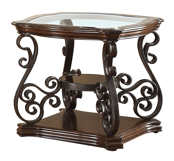 Coaster Furniture Deep Merlot Glass Top End Table CST-702447