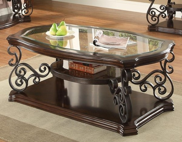 Traditional Brown Wood And Glass Coffee Table CST-702448