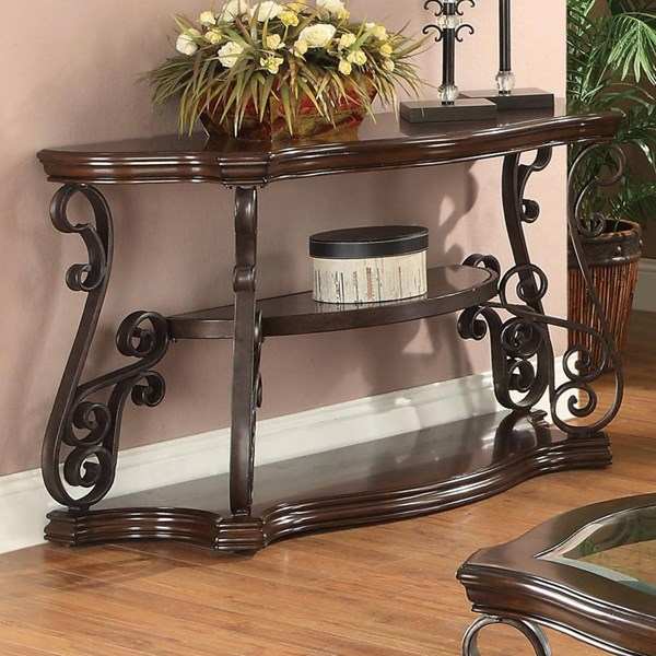 Traditional Brown Wood Rectangle Sofa Table CST-702449
