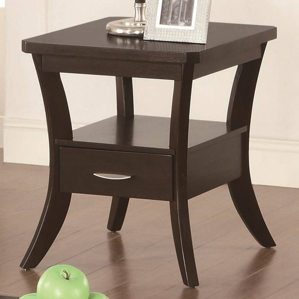 Casual Brown Espresso Wood Square End Table CST-702507