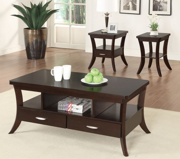 Casual Brown Espresso Wood Coffee Table Set CST-702507OS