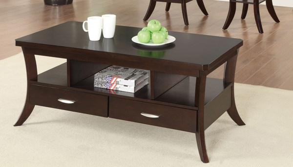 Casual Brown Espresso Wood Storage Coffee Table CST-702508
