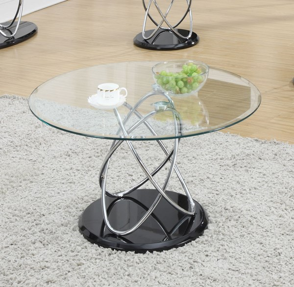 Coaster Furniture Metal Glass Round Coffee Table CST-702558