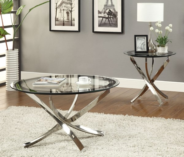 Contemporary Nickel 3pc Coffee Table Set CST-702587OS3