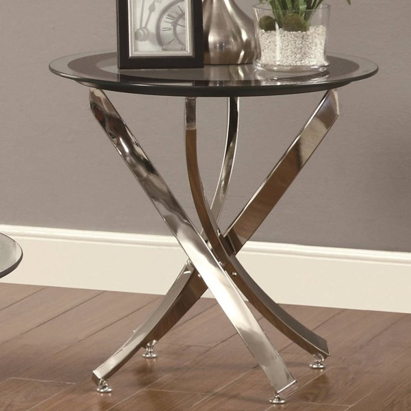 Contemporary Chrome Glass Metal Round End Table CST-702587