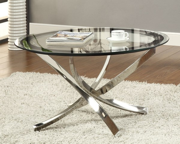 Coaster Furniture Chrome Glass Metal Round Coffee Table CST-702588