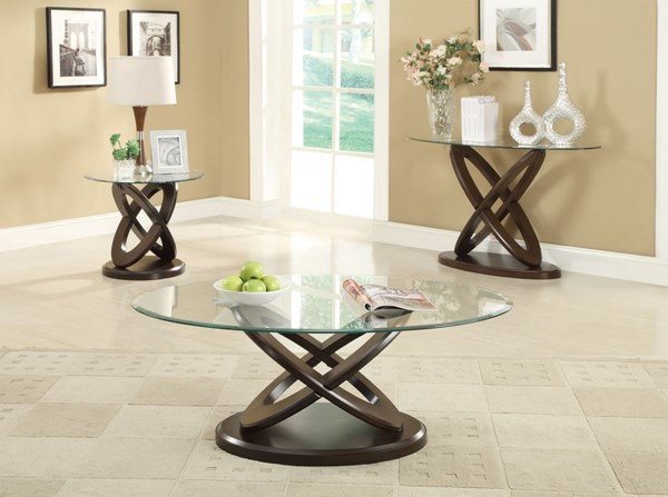 Casual Brown Wood And Glass 3pc Coffee Table Set CST-702787OS3