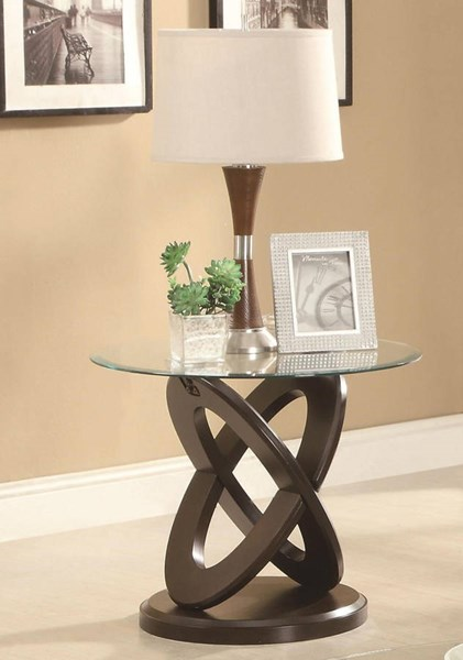Coaster Furniture Cappuccino Glass Top Round End Table CST-702787
