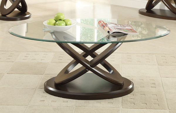 Casual Espresso Oval Glass Wood Coffee Table CST-702788