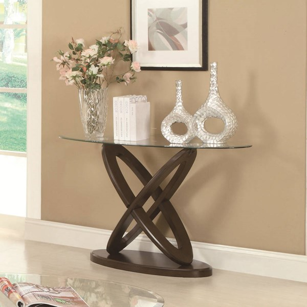 Casual Espresso Wood Glass Oval Sofa Table CST-702789
