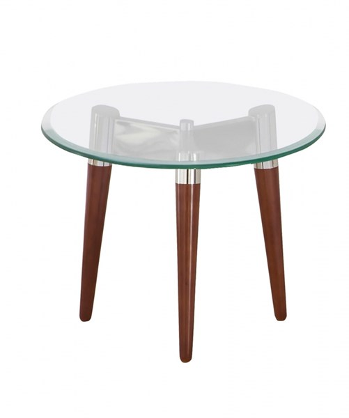 Contemporary Brown Glass Metal End Table w/Oval Shape CST-702907
