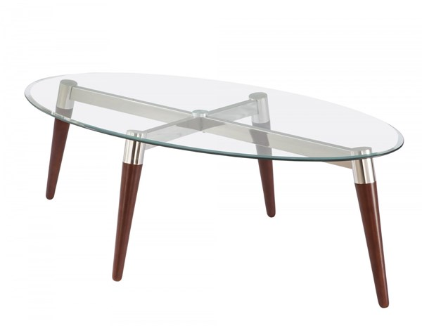 Contemporary Brown Glass Metal Coffee Table w/Oval Shape CST-702908