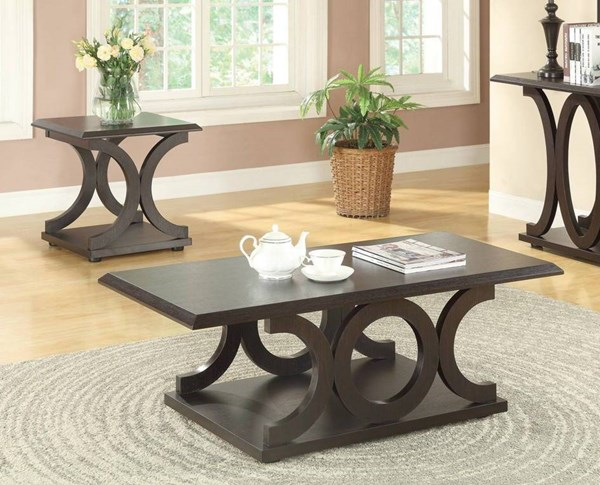 Traditional Cappuccino Wood Rectangle 3pc Coffee Table Set CST-703147-48-49-OCT-S
