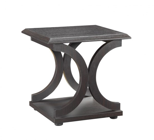 Transitional Cappuccino Wood End Table w/C-shaped Bases CST-703147