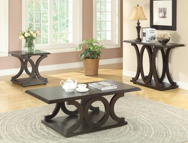 Traditional Cappuccino Wood Shelf  Coffee Table Set CST-703147-48-49-OCT