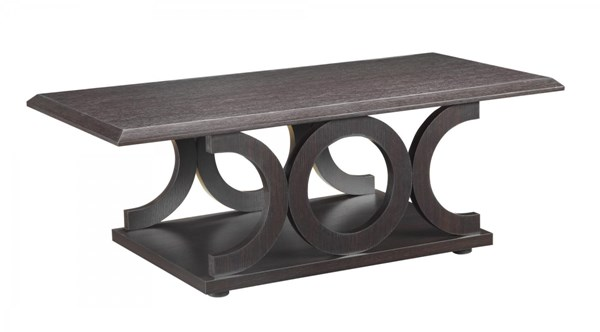 Coaster Furniture Cappuccino Wood Coffee Table with C Shaped Bases CST-703148