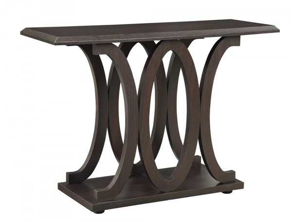 Traditional Cappuccino Wood Sofa Table w/C-shaped Bases CST-703149