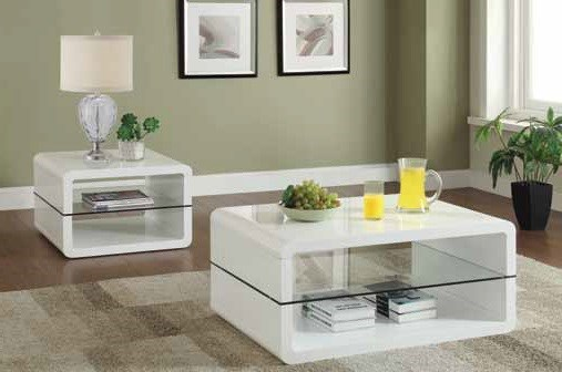 Contemporary White Glass Coffee Table Set CST-703267-68-OCT