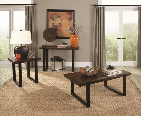 Vintage Brown Black Wood 3pc Coffee Table Set CST-703427-8-9-OCT-S
