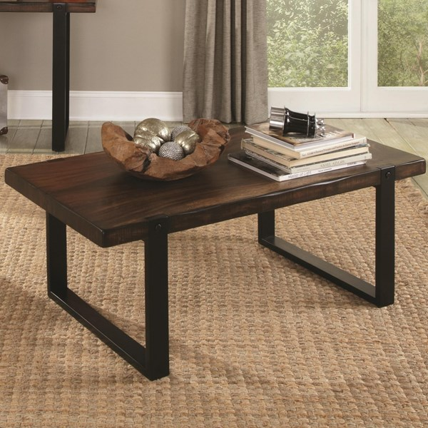 Vintage Brown Black Wood Rectangle Coffee Table CST-703428