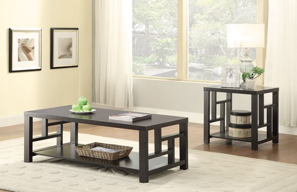 Transitional Cappuccino Wood 3pc Coffee Table Set CST-703537-38-GRP