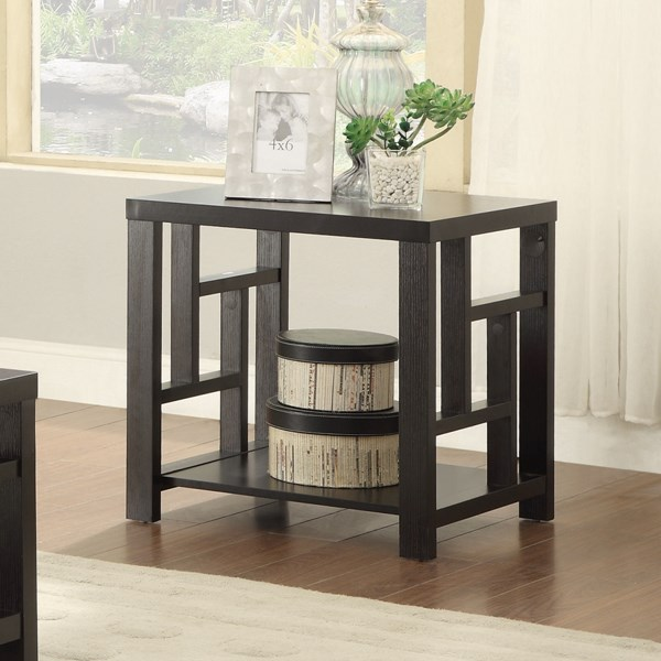 Transitional Cappuccino Wood 1 Shelf End Table CST-703537