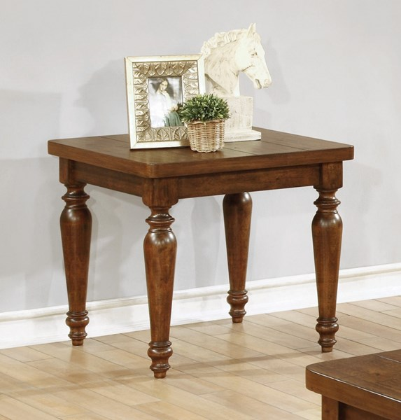 Rustic Brown Wood Square End Table CST-703577