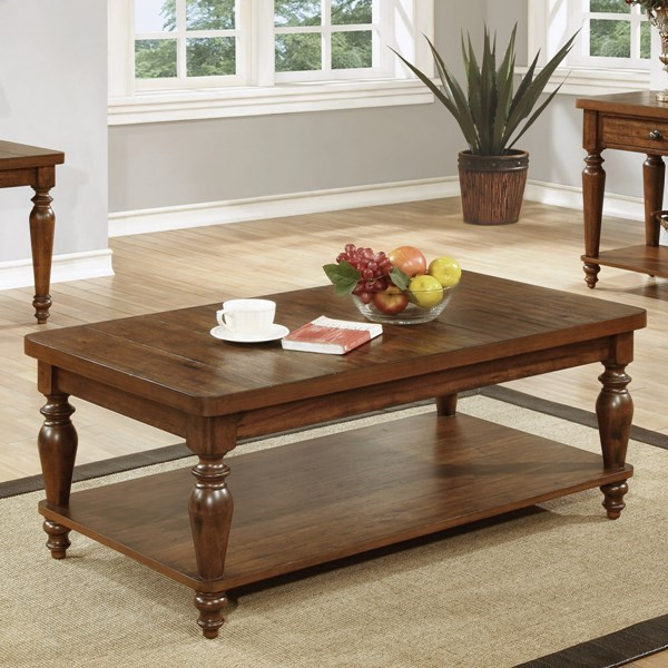Coaster Furniture Brown Wood Rectangle Coffee Table with Shelf CST-703578