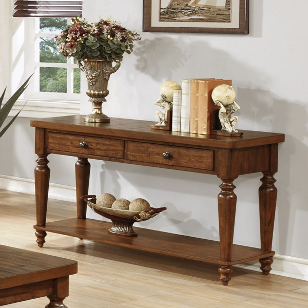 Rustic Brown Wood Rectangle Storage Sofa Table CST-703579