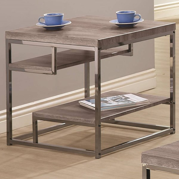 Contemporary Grey Black Metal Wood End Table w/Shelf CST-703727