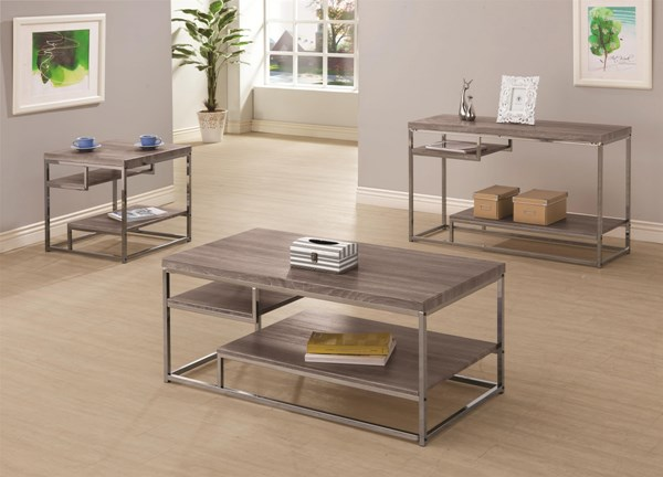 Contemporary Grey Black Metal Wood Coffee Table Set CST-703727-8-9-OCT