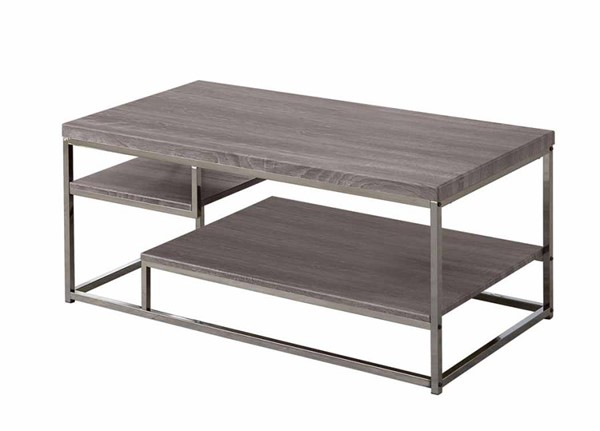 Coaster Furniture Grey Black Metal Wood Coffee Table with Shelf CST-703728