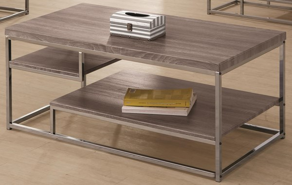 Contemporary Grey Black Metal Wood Coffee Table w/Shelf CST-703728